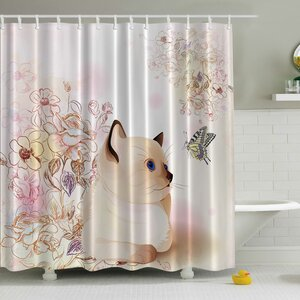 Cute Kitten Print Shower Curtain