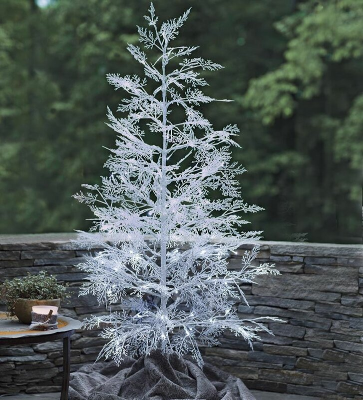 59 white artificial christmas tree with 96 led white lights with stand - White Artificial Christmas Trees