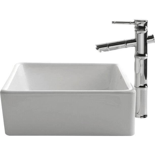 Kraus Ceramic Rectangular Vessel Bathroom Sink & Reviews