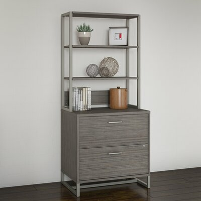 Method 2 Drawer Lateral Filing Cabinet with Hutch Kathy Ireland Office by Bush Finish: Cocoa