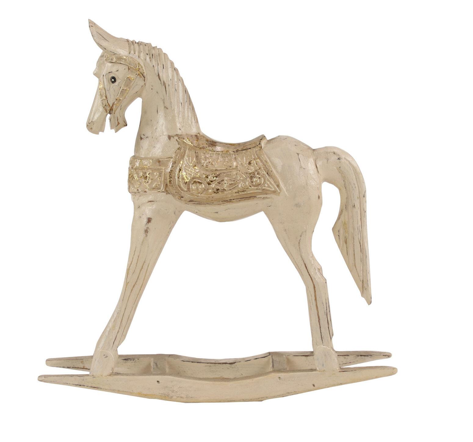 Eleanor Metallic Wooden Rocking Horse Figurine