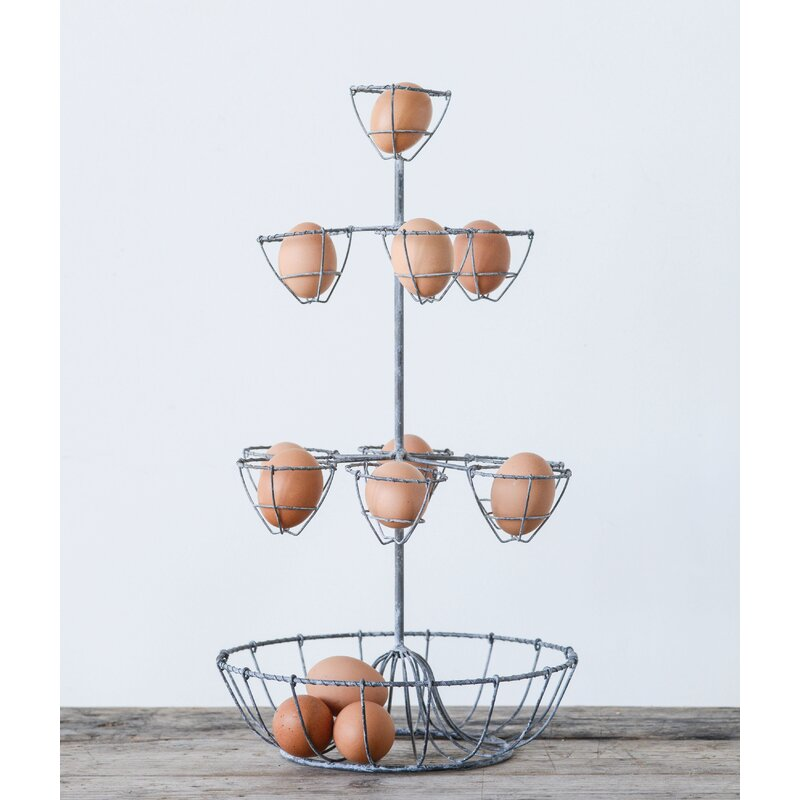 August Grove Heyman Metal Wire Tiered Stand with Egg Holders | Wayfair