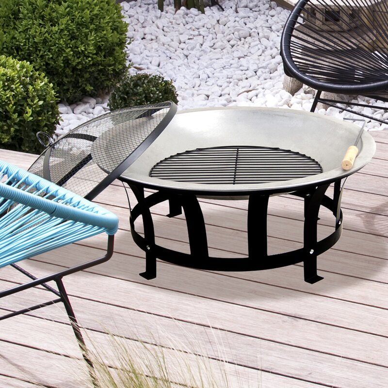 Stainless Steel Black U0026 Silver Fire Pit