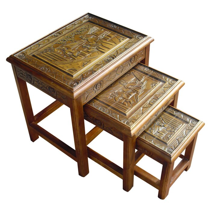 Grand International Decor Chinese Carved 3 Piece Nest Of