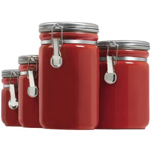 Exceptional 4 Piece Kitchen Canister Set. Black Red White