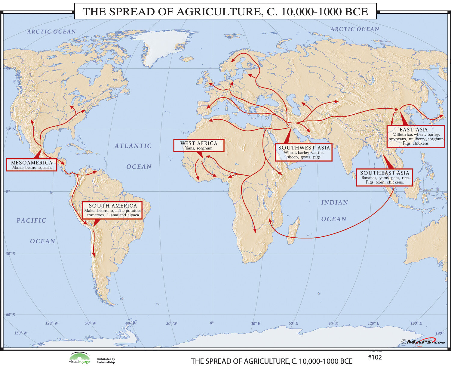 Universal Map World History Wall Maps Spread Of