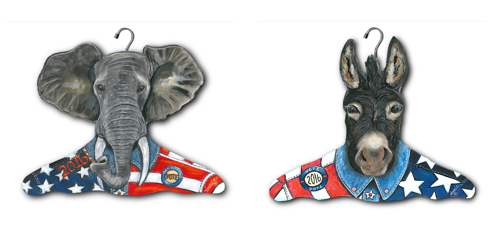 32fceb2657 Stupell industries republican elephant and democratic donkey clothing  hangers wayfair jpg 2000x979 Streamlined donkey