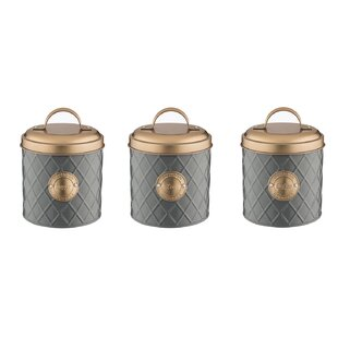 Copper Lid 3 Piece Coffee Tea Sugar Jar Sets