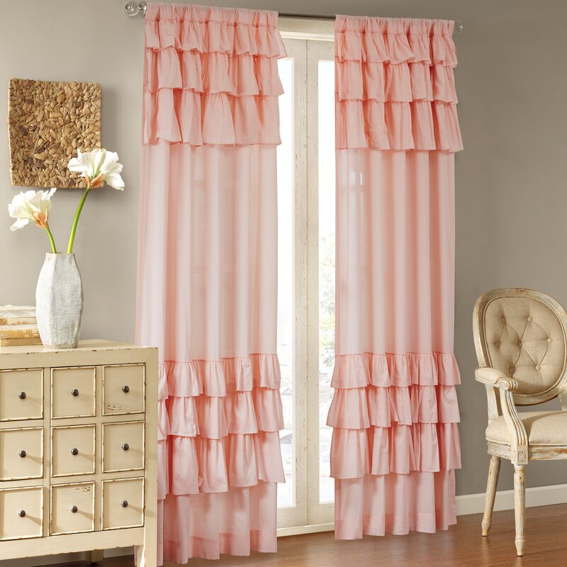 House of Hampton Gleason Solid Sheer Rod Pocket Single Curtain Panel ...
