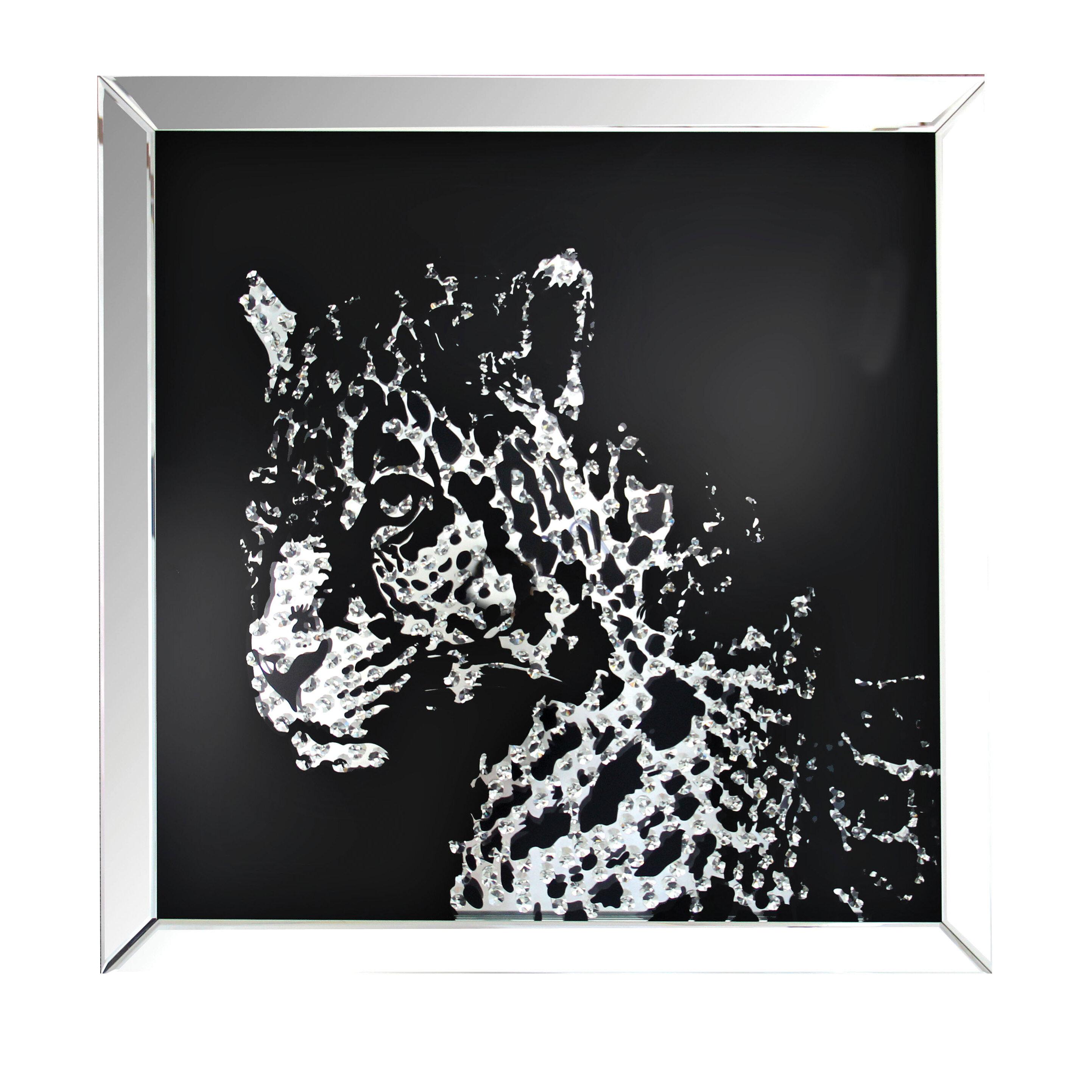 sc 1 st  Wayfair & Latitude Run Modern Mirrored Crystal Leopard Wall Décor | Wayfair