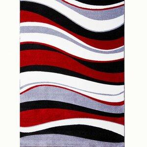 Schmitt Hand-Carved Red/Black Area Rug