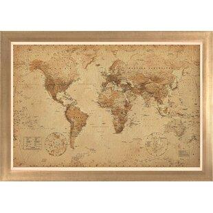 Large framed world map wayfair world map antique framed graphic art gumiabroncs Gallery