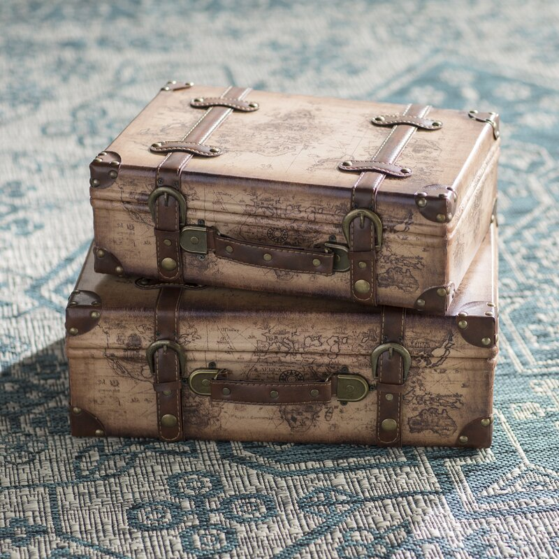 World menagerie prem old world map leather vintage style 2 piece prem old world map leather vintage style 2 piece trunk set gumiabroncs