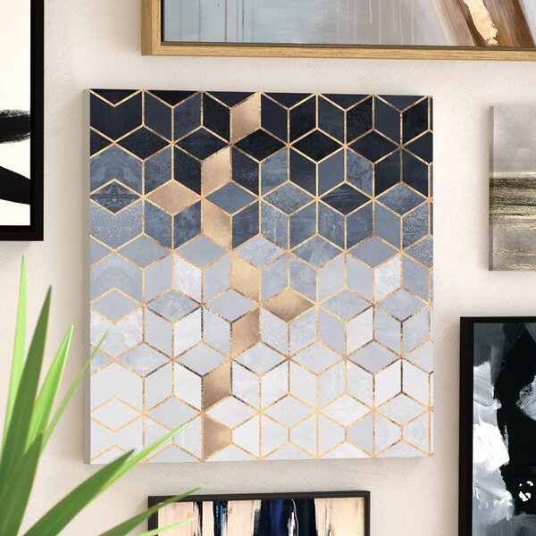Wade Logan Soft Blue Cubes Graphic Art Print On Canvas