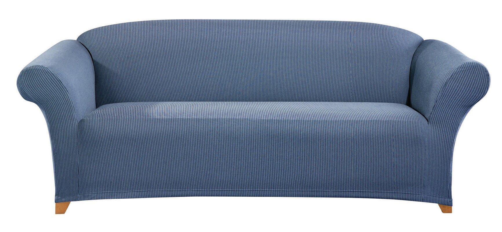 Simple Stretch Ticking Stripe Box Cushion Sofa Slipcover
