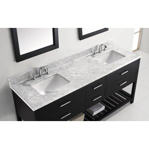 Rishaan Modern 73  Double Bathroom Vanity Set with White Marble Top and  MirrorModern Double Bathroom Vanities   AllModern. Modern Double Bathroom Sink. Home Design Ideas