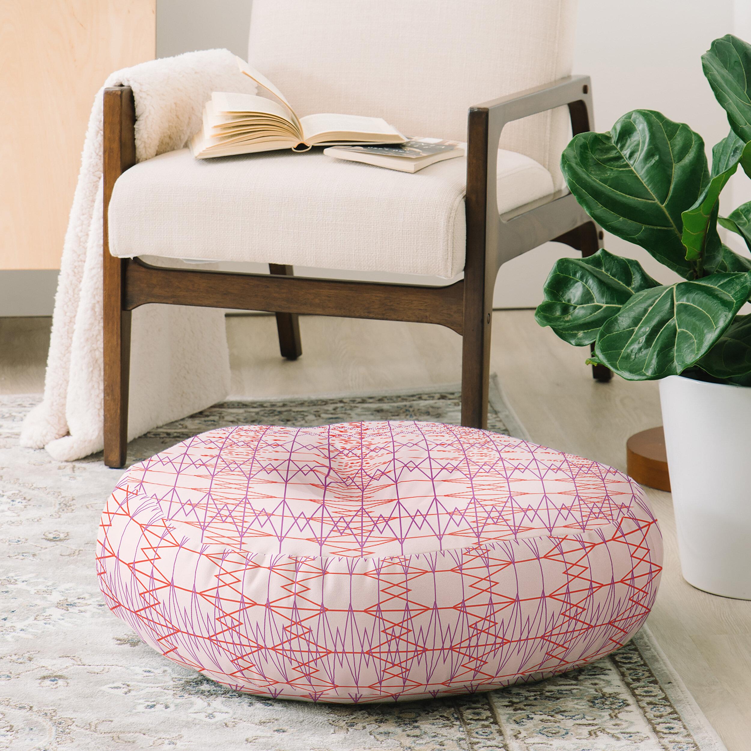 East Urban Home Zoe Wodarz Geo Stitch Plaid Round Floor Pillow | Wayfair