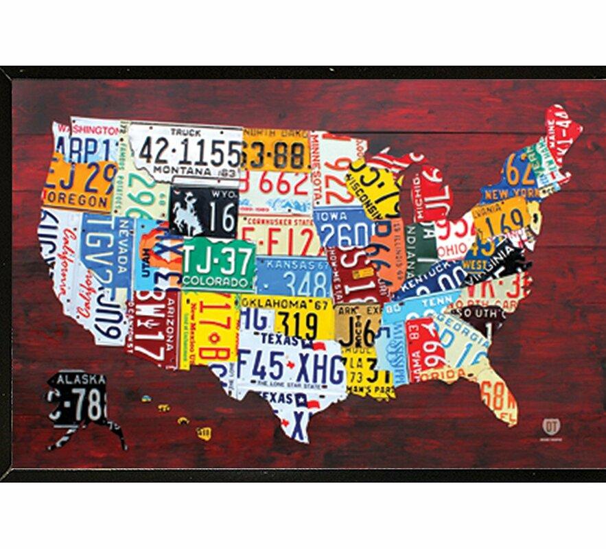 Frame USA License Plate Map Of The US Framed Graphic Art Print - Us map framed