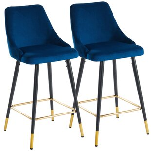 Janna Velvet/Metal 26 Bar Stool (Set of 2)