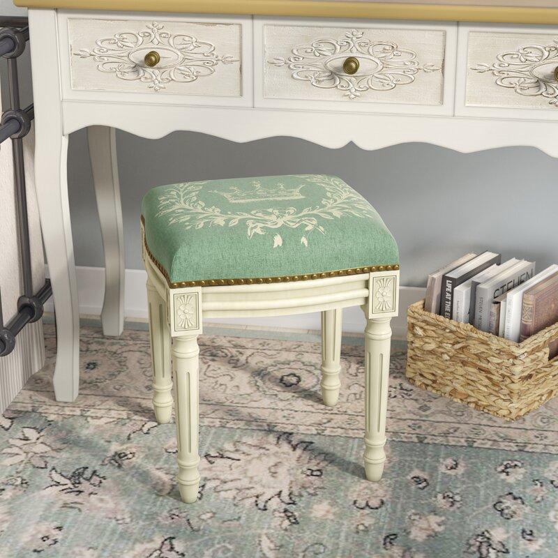 Lark Manor Clematite Coral Crown Linen Upholstered Vanity Stool