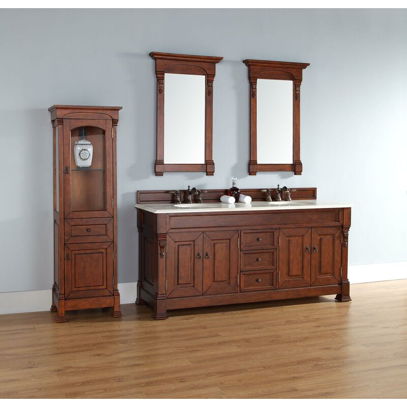 Brookfield 72 Double Warm Cherry Bathroom Vanity Set With Drawers