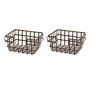 Metal And Wire Storage Basket (Set Of 2)