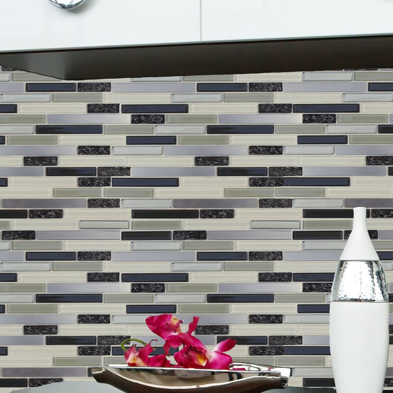 Gl Natural Stone Metal L Stick Mosaic Tile In Gray Black