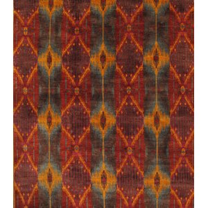 Ikat Hand-Knotted Rust/Orange Area Rug