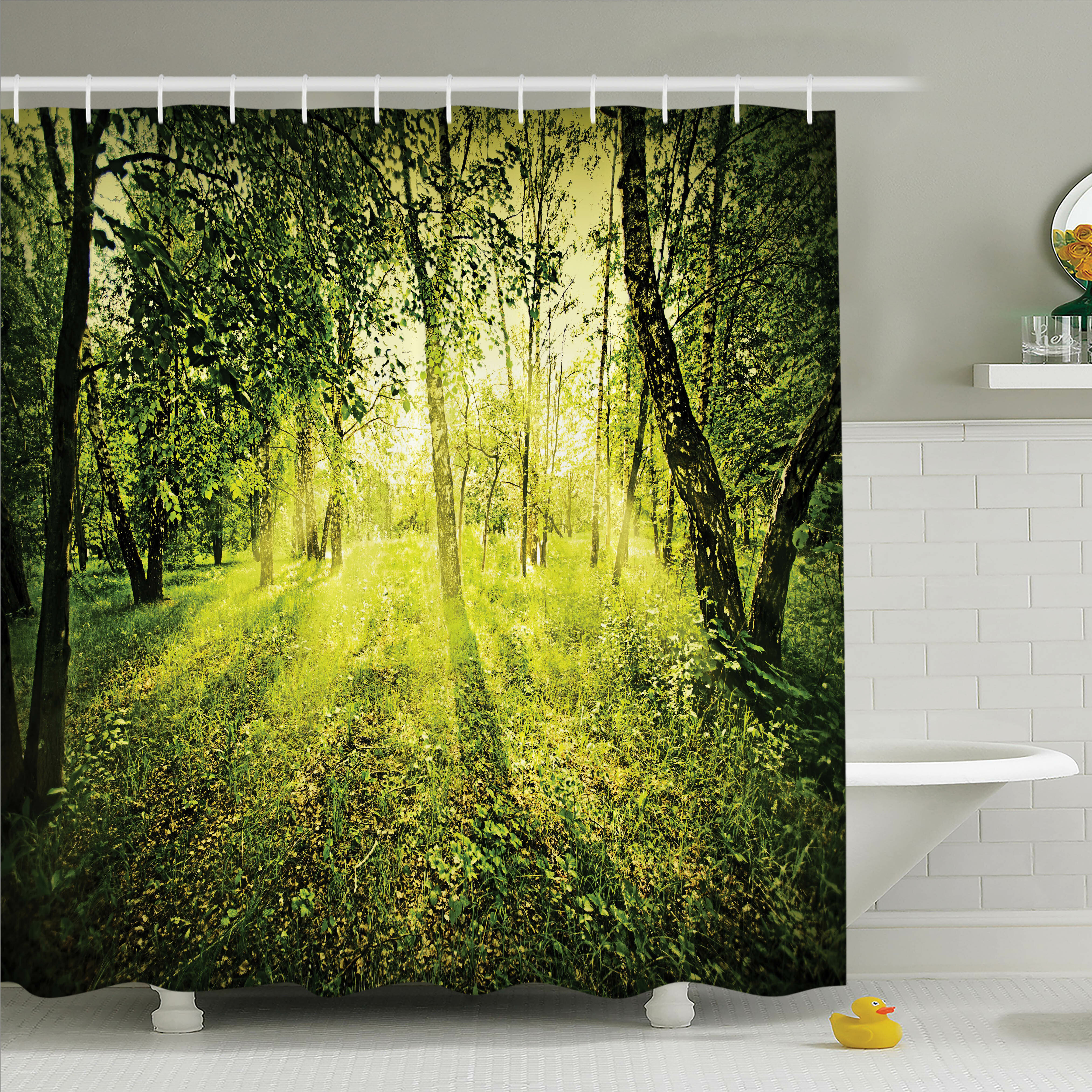 Ambesonne Forest Morning Light In Nature Shower Curtain Set