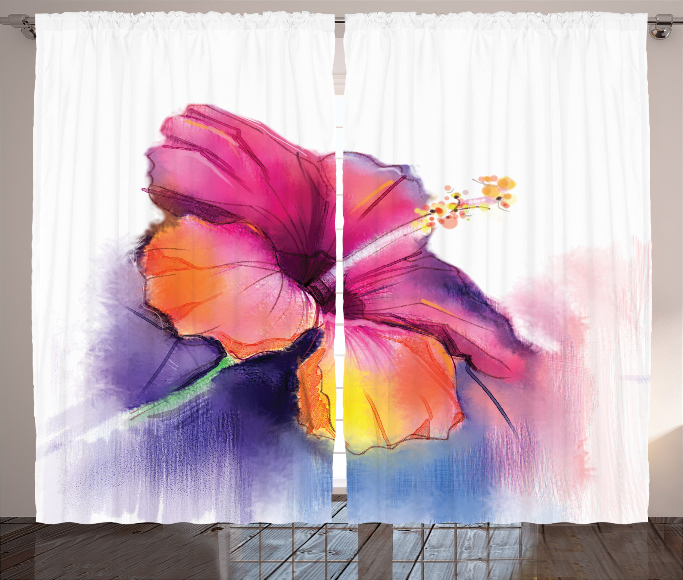 East Urban Home Hibiscus Flower Room Darkening Rod Pocket Curtain