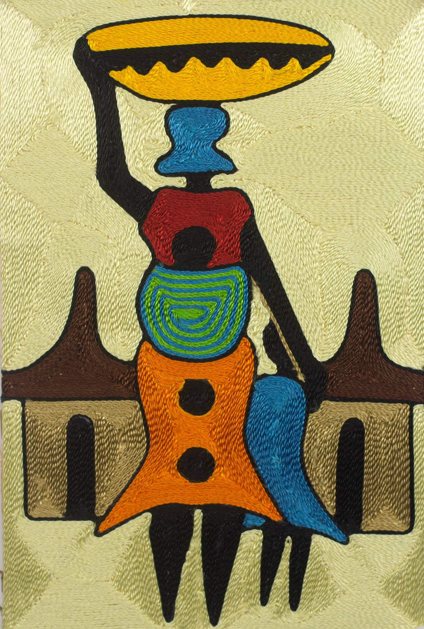 Novica Handcrafted African Threadwork of Village Scene by Ernestina ...