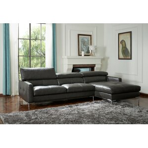 Marydel Solid Leather Reclining Sectional by..