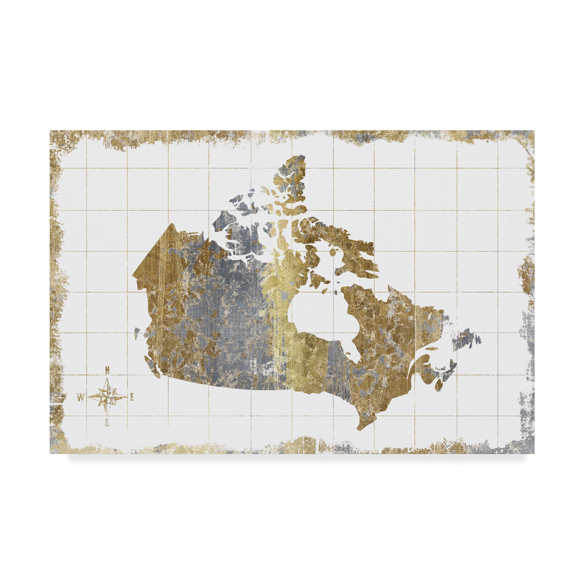 East Urban Home Gilded Map Canada Print On Wrapped