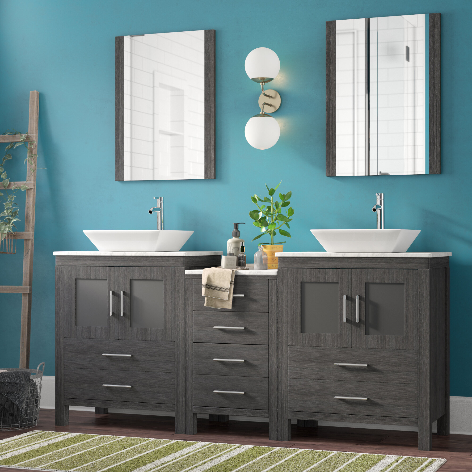 Mercury Row Cartagena 75 Double Bathroom Vanity Set With White Marble Top And Mirror Reviews Wayfair