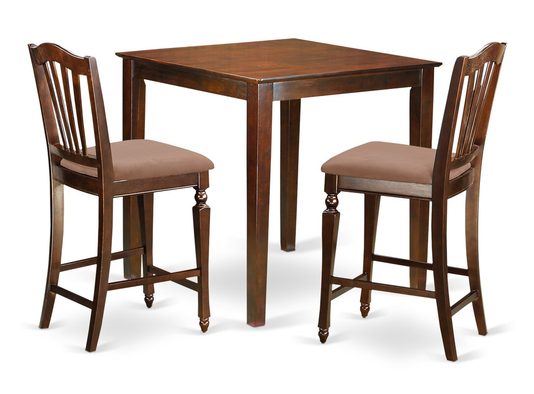 East West Vernon 3 Piece Counter Height Pub Table Set