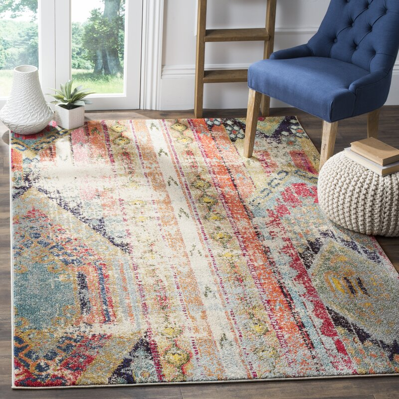 Ady Beige Orange Area Rug Amp Reviews Joss Amp Main
