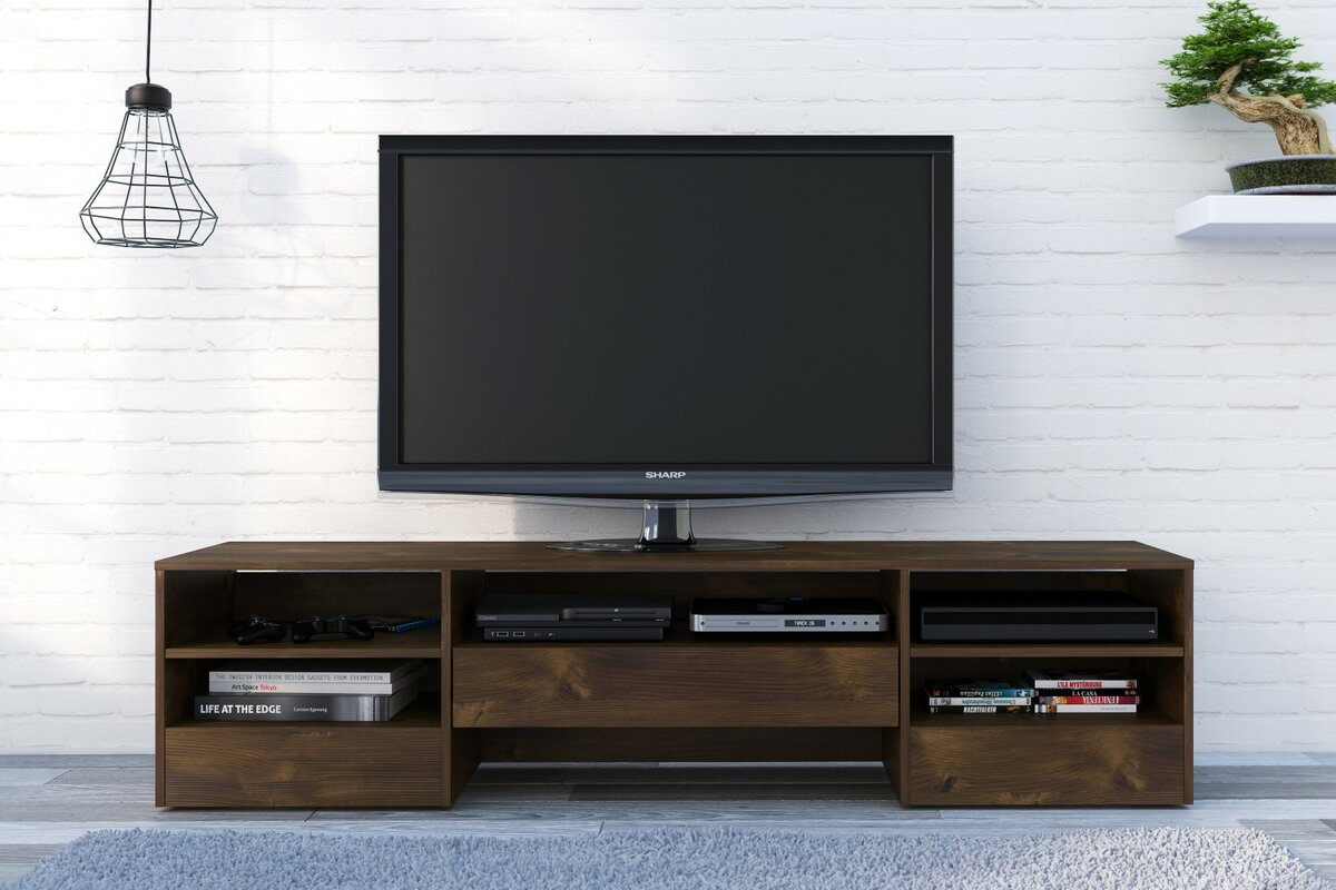 union rustic nori 72 wood tv stand reviews wayfair. Black Bedroom Furniture Sets. Home Design Ideas