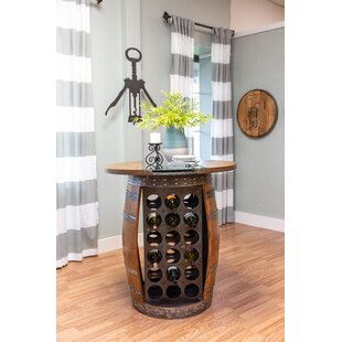 Zackary Live Edge and Glass Wine Barrel Table Bar