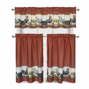 Myatt Roosters And Sunflowers 3 Piece Kitchen Curtain Set