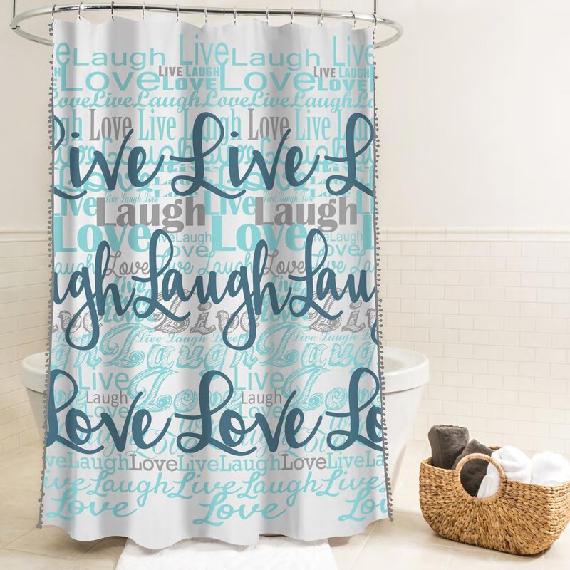 Ebern DesignsMcSheffrey Bath Live Laugh Love Fabric Single Shower Curtain