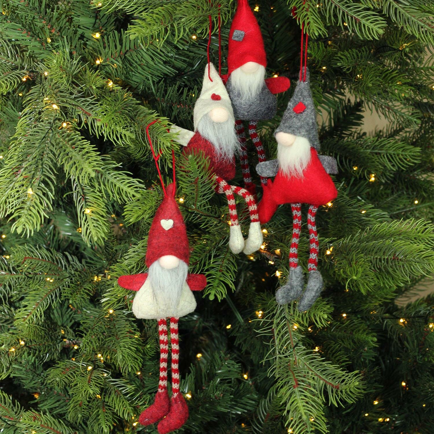 the holiday aisle plush decorative gnome christmas ornaments 4 piece hanging figurine set reviews wayfair - Gnome Christmas Decorations