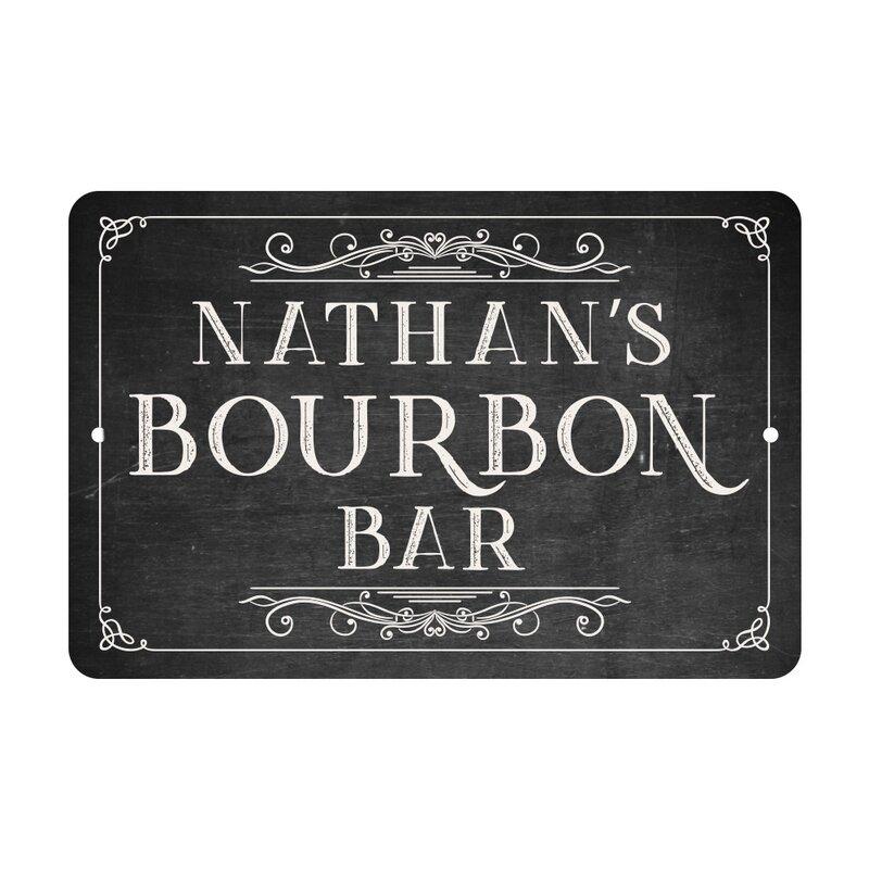 4 Wooden Shoes Personalized Chalkboard Look Bourbon Bar Metal Room ...