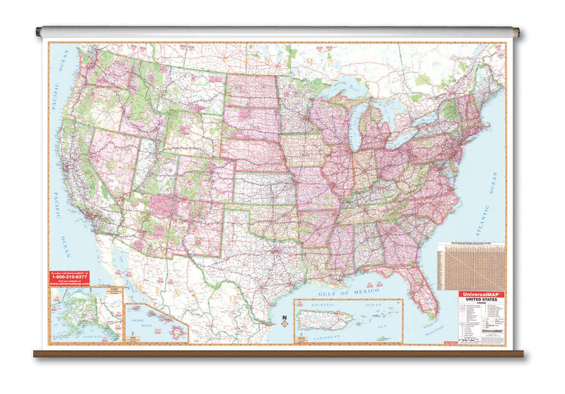 Universal Map Large Scale Wall Map United States Reviews Wayfair - Us map scale