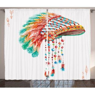 Brookhill American Watercolor Tribal Indian Chief With Feathers And Beads Arrow Figures Print Graphic Text Semi Sheer Rod Pocket Curtain Panels Set