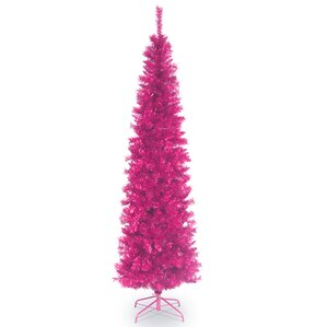 6 pink tinsel wrapped artificial christmas tree with metal stand - Pink Christmas Trees