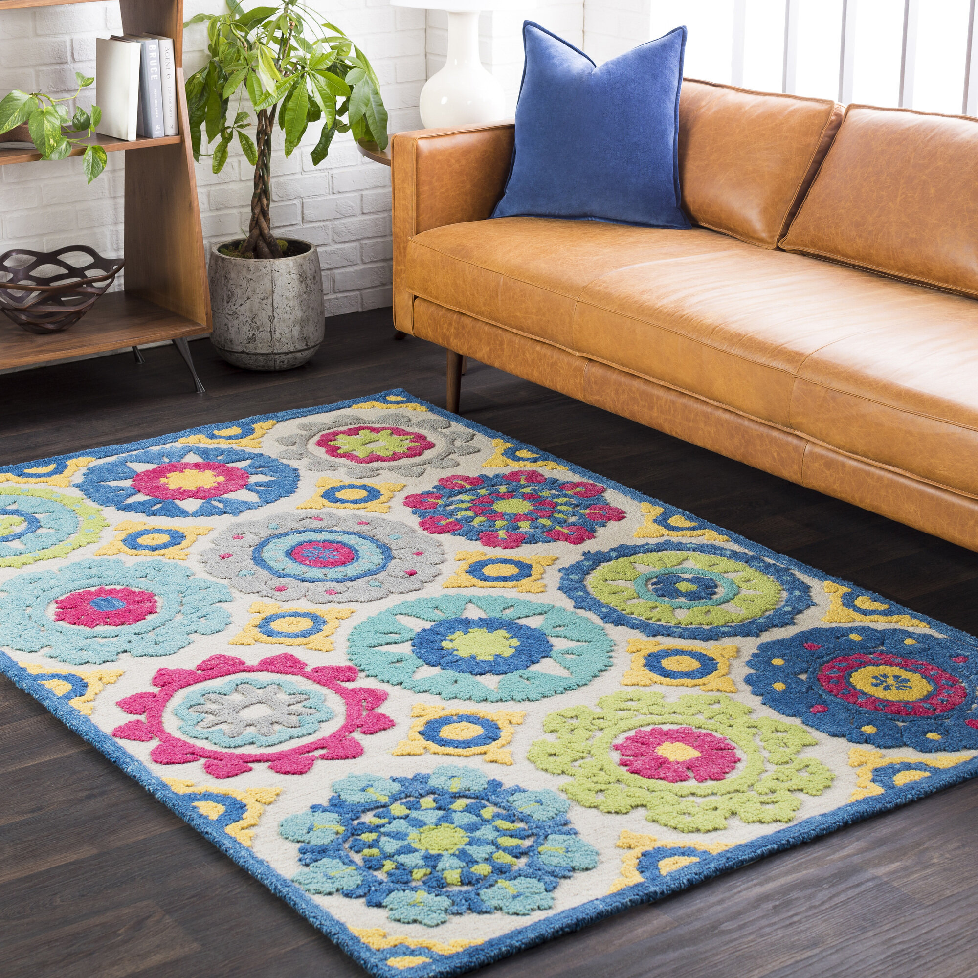 Bungalow rose withams floral hand tufted wool aqua bright for Bright floral area rugs