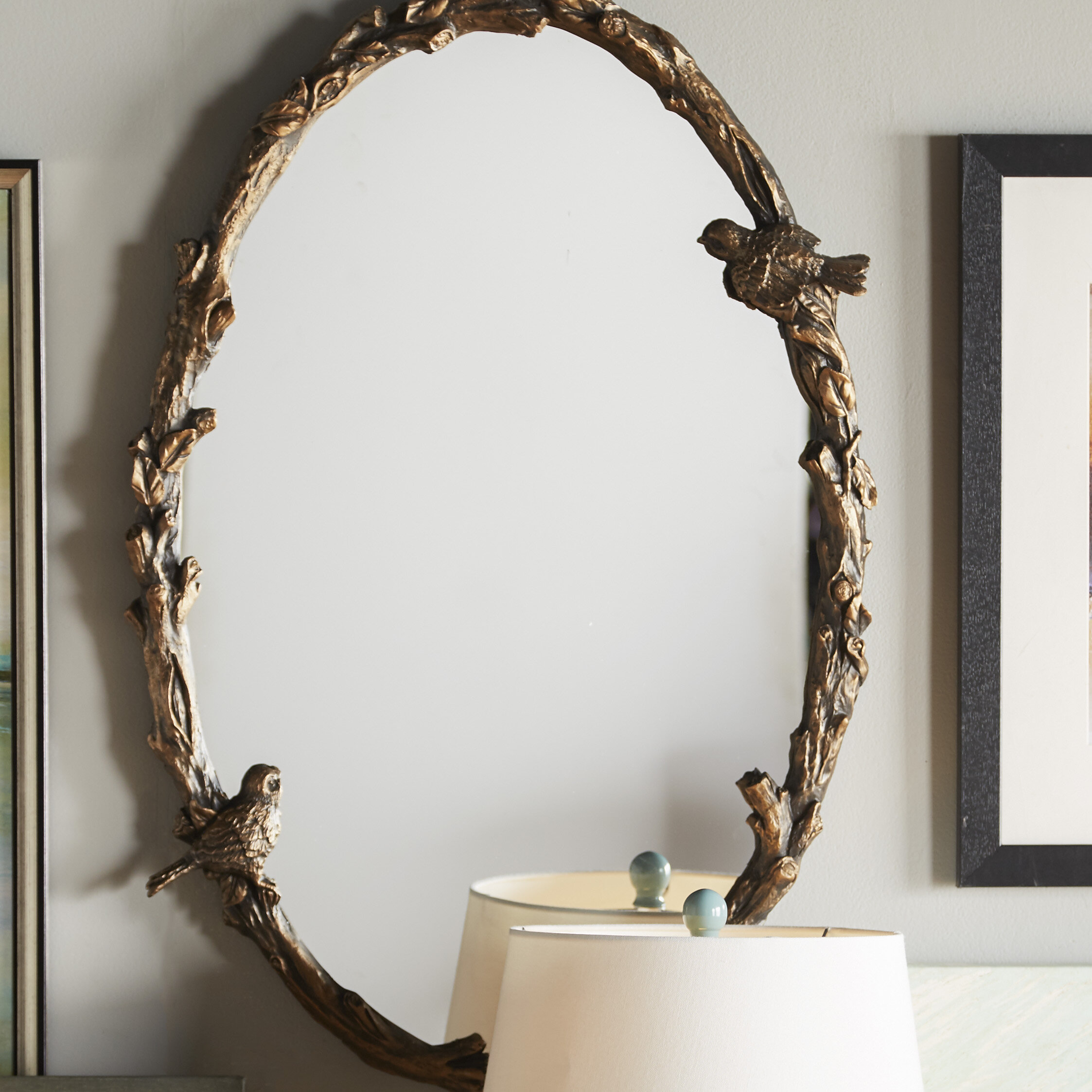 One Allium Way Eliana Oval Mirror In Antique Gold Leaf Reviews