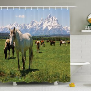 National Parks Home Equestrian Decor Snow Idyllic Mountain Peaks Arabian Horse  Shower Curtain Set