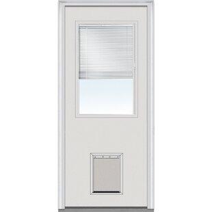 Pet Door Primed Fiberglass Prehung Front Entry Doors