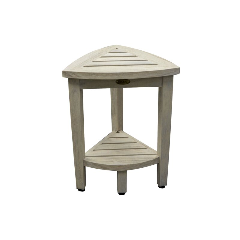 EcoDecors Oasis Coastal Vogue Compact Teak Corner Shower Bench with ...